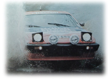 TR7 plowing through a small puddle